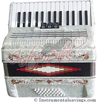 Rossetti 30 Key Piano Pro Accordion -White