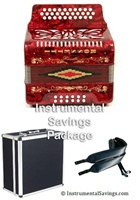 Rossetti 12 Bass Diatonic Deluxe Accordion - Red