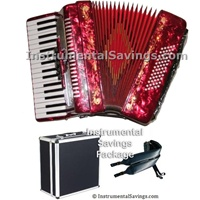 Rossetti 34 Key 5-Switch Piano Accordion - Red