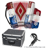 Del Sol DS-3112-RWB Diatonic 12 Bass Button Accordion - Special Limited Offer