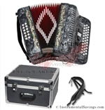 Del Sol CM-3412-Gry Diatonic  12 Bass/34 Key Button Accordion