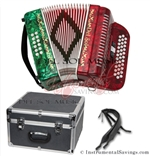 Del Sol CM-3412-RG Diatonic  12 Bass/34 Key Button Accordion