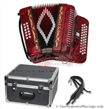 Del Sol CM-3412-Rd Diatonic 12 Bass/34 Key Button Accordion