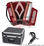 Del Sol CM-7001-Rd Diatonic 12 Bass Button Accordion