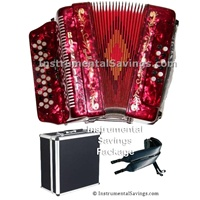 Rossetti 34 Button/12 Bass 3-Switches Accordion-Red