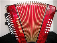 3 ROW DIATONIC BUTTON ACCORDION RED RS BERKELEY GCF